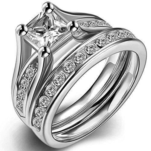 Acero inoxidable corte princesa Juego de anillo de compromiso de boda aniversario Proponer la eternidad novia halo