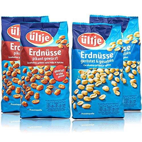 ültje - 4er Probierset aus: Erdnüsse pikant gewürzt und geröstet und gesalzen á 1 kg Großpackung