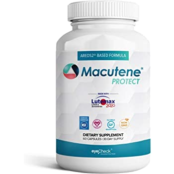 Natural Eye Health Vitamins with Bilberry Zeaxanthin Lutein - Macular Support Supplement, Formula Based On AREDS2® Clinical Trials Plus Carotenoids Quercetin EGCG - Macutene® Protect (60 Capsules)
