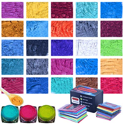 Mica Powder for Epoxy Resin (8.8oz/250g) 25 Colors with Spoon, (0.35oz/10g Each) Lip Gloss Pigment Powder Dye, Slime Colorant, Bath Bomb, Soap Making & Candles