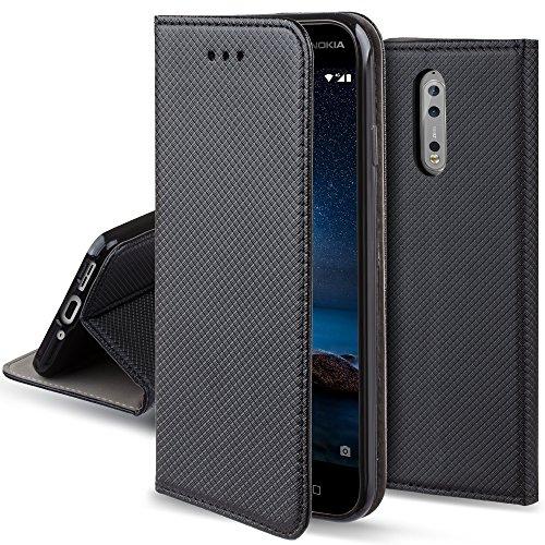 Moozy Cover Custodia a Libro per Nokia 8, Nero - Flip Smart Magnetica con Funzione di Appoggio