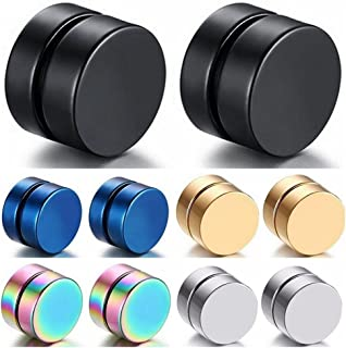 Niome 1 Pair Women Men 8MM Stainless Steel Magnetic Earrings Ear Stud Jewelry Non Pierced Ears