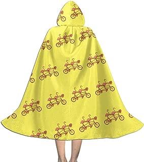 Kids Cape Cloak with Hood Pink Flamingos On Tandem Bike Unisex Full Length Hooded Robe Cloak Long Cape Cosplay Costume
