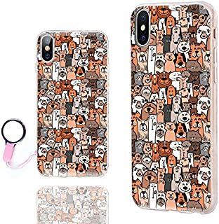 iPhone Xs Max Case Cute,ChiChiC 360 Full Protective Shockproof Thin Slim Flexible Soft TPU Clear Case Cover Cool Design iPhone Xs Max 6.5,Cartoon Animal pet Cute Brown Dogs Cats Smile