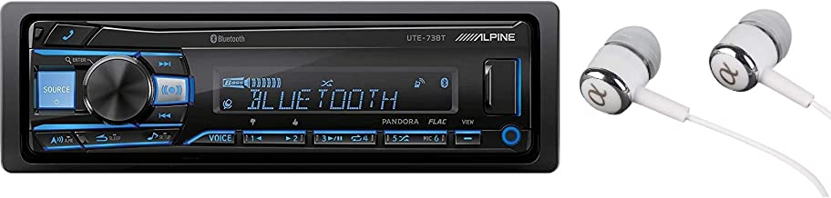 Alpine UTE-73BT In-Dash Single Din MP3 Am/FM Receiver Dual USB, Front Auxiliary, Iphone Pandora Internet Radio, Variable Color Illumination, Digital Media Receiver/Free Alphasonik Earbuds