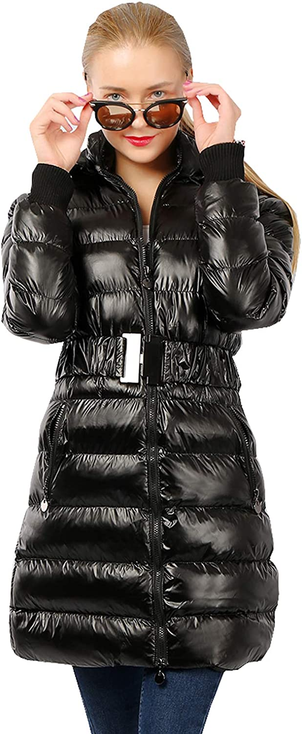 YYCT Women's Long Slim Warm Winter Belted Jacket Thick Insulated Coat