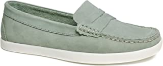 Driver Club USA Women's Leather Made in Brazil Penny Loafer Deck Shoe Boat, Baby Blue Nubuck, 5 M US