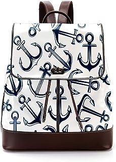 TIZORAX Marineblau Silber Anker PU Leder Rucksack Mode Schultertasche Rucksack Reisetasche für Frauen Mädchen