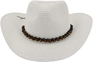 Lady's Sun hat Western 2019 Outside Beach Hat Visor Women Big Sun Hat Leather Woven Rope Fedora Hat Stubble Hat Sun hat (Color : White, Size : 56-58CM)