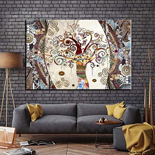 xinyouzhihi Famosos Cuadros, pósters e Impresiones sobre Lienzo de Pintura El árbol de la Vida de Gustav Klimt para la decoración de la Sala de Estar 40x60cm Sin Marco