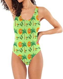 LORVIES Women's Tropical Smiley Face One-Piece Swimsuit Scoop Back Monokini Swimwear Bathing Suit