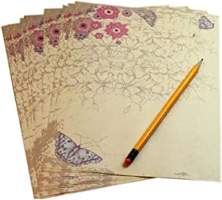 16Pcs Retro Butterfly Kraft Paper Stationery Calligraphy Writing Papers