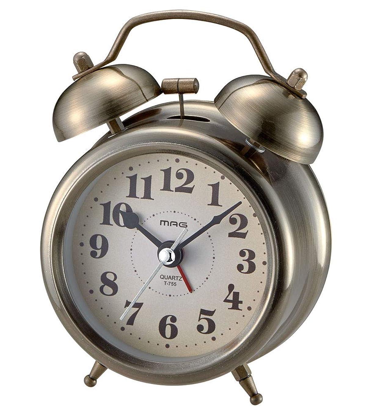 神学校狂気音楽を聴くMAG(マグ) 目覚まし時計 非電波 アナログ アンティーク ツインベル ゴールド T-755AG-Z