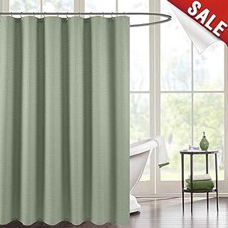 Jinchan Waterproof Shower Curtain Olive Waffle Weave Fabric Rust Resistant Metal Grommets Top