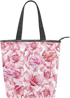 Mnsruu Große Handtasche aus Segeltuch Strandtasche, Reisetasche, Einkaufstasche, Schultertasche mit rosa Flamingo und Rosen, Weiß, 156649862