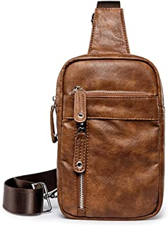 Casual Solid Crossbody Bags Man Leather Messenger Bag With Front Pocket Black Brown Sling Bag Men Chest Bag