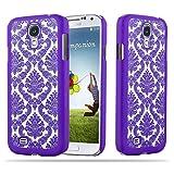 Cadorabo Samsung Galaxy S4 Hardcase Hülle in LILA Blumen Paisley Henna Design Schutzhülle – Handyhülle Bumper Back Hülle Cover