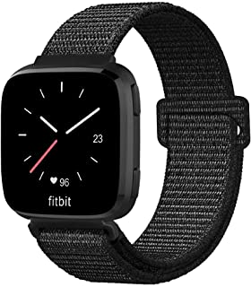 Fintie Bands Compatible with Fitbit Versa & Versa Lite & Versa Special Edition, Soft Nylon Sport Loop Replacement Wristband Strap with Fastener Adjustable Closure, Pinkish Black