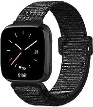 FINTIE Cinturino per Fitbit Versa/Versa Lite/Versa Edizione Speciale - Morbido Nylon Cinturini di Ricambio Regolabile Sport Bande, Nero