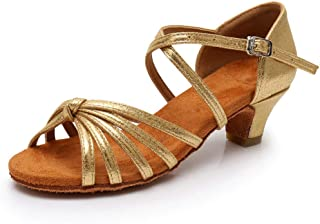 Kid's Gilr's Latin Dance Shoes Tango Ballroom Salsa Waltz Party Formal Shoes Brillante Glitter Heeled Sandals