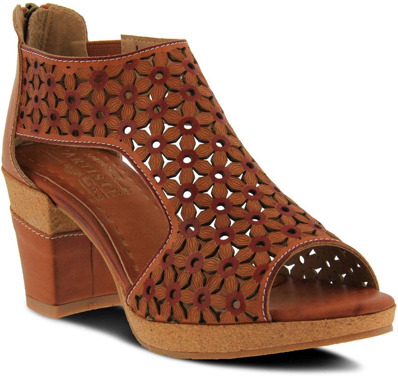 L'ARTISTE Women's Hibiskus Leather Ankle Strap Sandal