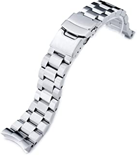 22mm Hexad Oyster 316L Stainless Steel Watch Band for Seiko SKX007, Diver Clasp Brushed