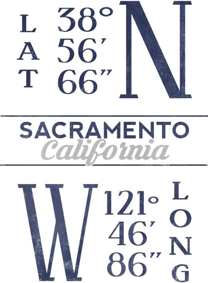 Sacramento California Latitude and Popular products Luxury goods Longitude Blue 16x24 Gic