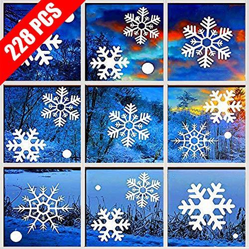 Fensterbilder Weihnachten, 228 Schneeflocken Fenstersticker, Weihnachtsdeko Fenster,Fensteraufkleber PVC Fensterdeko Selbstklebend, für Türen Schaufenster Vitrinen Glasfronten Deko