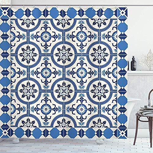 abby-shop Marokkanischer Duschvorhang im orientalischen türkischen Stil inspirierte Mosaikmotive im klassischen Retro-Design, grau-blau