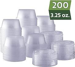 [200 Sets - 3.25 oz.] Plastic Disposable Portion Cups with Lids