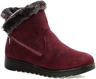 17f408e686130 Femme Filles Chaussures Bottes de Neige Hiver avec Fourrure à Talons Plats  Chaude Boots Plates Chaussures