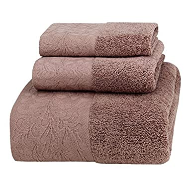 Premium Spa & Hotel Bath Towel Set, 100% Cotton, Highly Absorbent, Super Soft and Eco-friendly, 3 Pieces with 1 Oversized Bathroom Towel (28 x55 ), 1 Hand Towel, 1 Washcloth. (Taupe Brown)