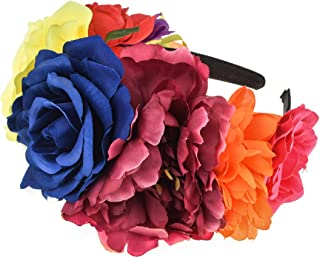 Vividsun Frida Kahlo Mexican Rose Flower Crown Day of The Dead Floral Crown