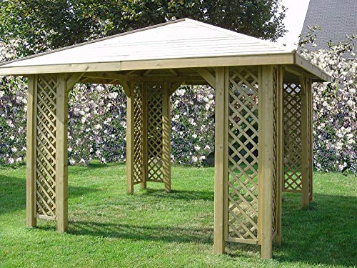 10ft x 10ft (Ex 12ft x 12ft) GARDEN WOODEN GAZEBO WITH OPTIONAL SHINGLES !SALE! + 12 x POSTS HOLDERS (Gazebo only)