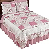 Collections Etc Hadley Floral Patchwork Reversible Lightweight Quilt, Rose, King