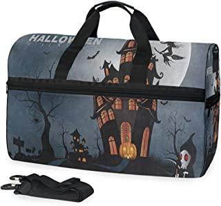 Travel Gym Bag Happy Halloween Pumpkin House Overnight Yoga Bag With Shoes Compartment Foldable Duffle Bag For Men Women