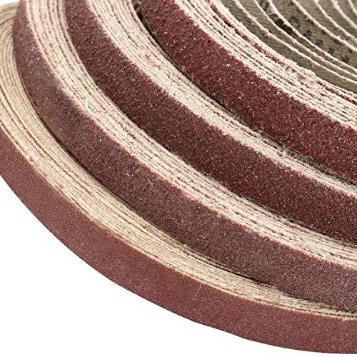 Busirsiz Molienda Herramienta 50pcs 10x330mm Zirconia lijadoras de Banda 40/60/80/120 Grit óxido de Aluminio Herramientas abrasivas (Tamaño: 120#)