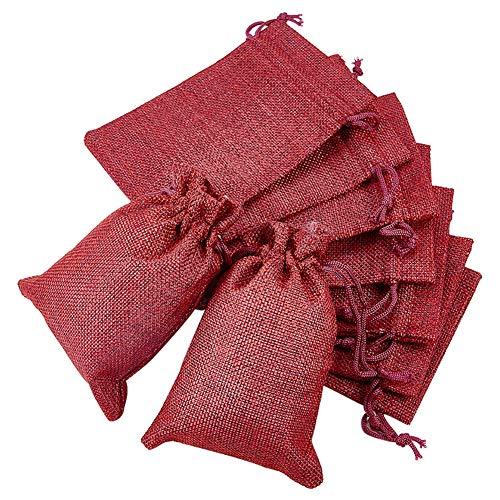 BENECREAT 30 PCS Bolsas de Arpillera con Cordón Envase de Regalo Color de Rojo Oscuro para Fiesta Boda y Almacenamiento de Cosas Pequeñas 14.3x10.5cm