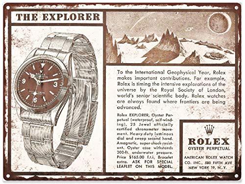 Yohoba 1958Rolex Explorer Orologio ad Mancave Shop Metal Sign Repro 20,3x 30,5cm