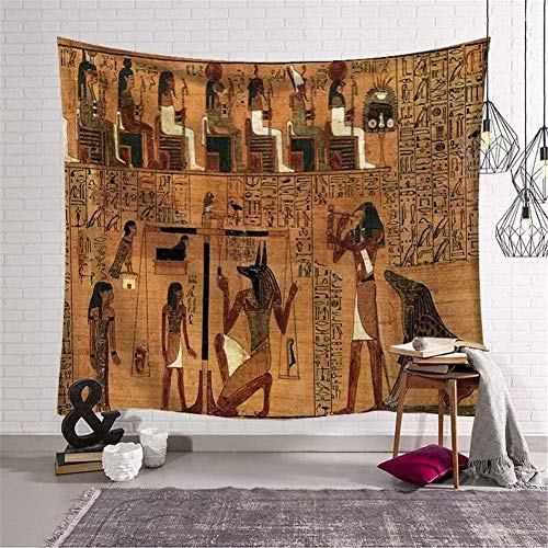 QIAO Tapisserie Wandbehang Indische Hippie-Wandteppiche Kunst Alt?gyptische Figur HD-Druck B?hmische Yogamatten Teppiche Bettw?sche Strandwurf Decke Picknickdecke Tischdekoration