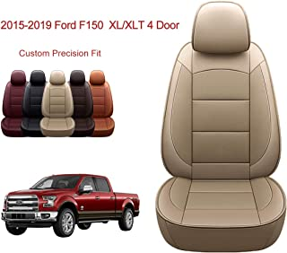 Best OASIS AUTO   2015-2020 F150   2017-2020 F250 F350  Custom Fit PU Leather Seat Covers Full Set Compatible with F-150 F-250 F-350 Truck 2015 2016 2017 2018 2019 2020 (15-20 F150&17-20 F250/F350, TAN) Review