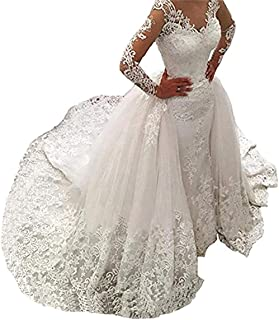 6e06c8f21c Women's Long Sleeves Lace Wedding Dresses Bridal Gown Mermaid Wedding  Dresses for Bride 2019 with Detachable