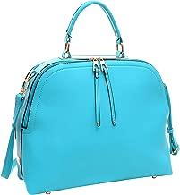 Dasein Women's Classic Buffalo PU Leather Domed Satchel Handbag Work Bag Shoulder Bag with Shoulder Strap