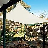Patio Shack Toldo Vela de Sombra Rectangular 3x5 m, Protección Rayos UV y Poliéster Impermeable para Exterior, Jardín, Terrazas Crema