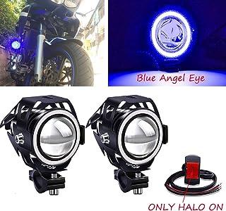 Biqing 2 szt. reflektory motocyklowe z przełącznikiem, U7 niebieskie motocyklowe dodatkowe światła LED światła przeciwmgie...