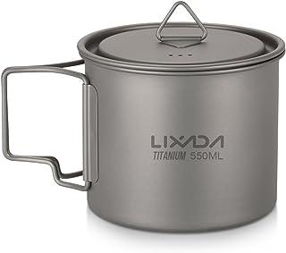 Lixada Camping Cookware Set - Ultralight Titanium Cup Mug - Camping Fry Pan Foldable Handle with Lid and Stuff Sack Titani...