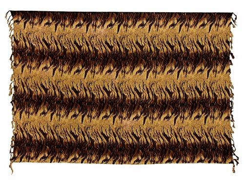 Sarong Pareo Dhoti Lunghi ca. 170cm x 110cm Braun Dunkel Braun mit Wildkatzen Muster Handgefertigt