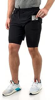 TRUEREVO Men's Double Layered Running Shorts with Phone Pocket Dark Black