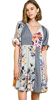 Umgee Doll-Baby Babydoll! Boho Mixed Pattern Dress