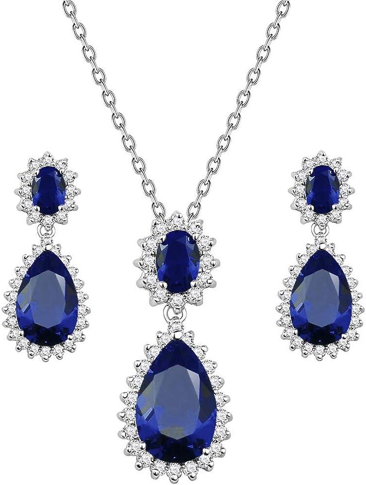 Lavencious Teardrop Dangle Necklace & Earring Sets for Women Trendy AAA Cubic Zirconia for Women